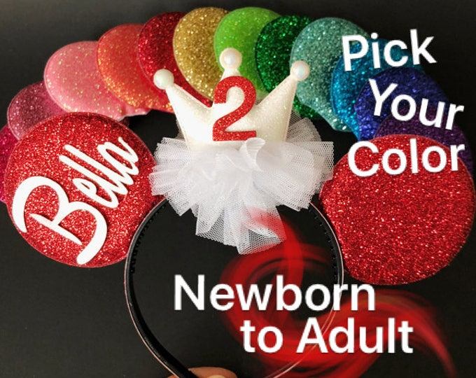 Birthday Minnie Ears,Kids Minnie ears,Minnie theme Birthday,Mouse Ears,Minnie Elastic Headband,Ears Headband,Red Minnie Ears,Mini Ears,crown