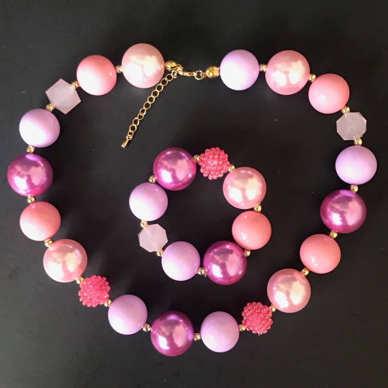 Baby Chunky NecklaceBubble Gum NecklacePurple and Pink image 0