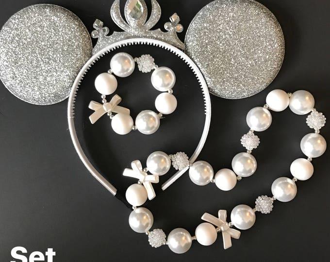 White Queen Minnie Ears,White Queen Crown,Tiara Minnie Ears,Princess Minnie Ears,Princess Ears,Silver Minnie Headband,Silver Mickey Headband