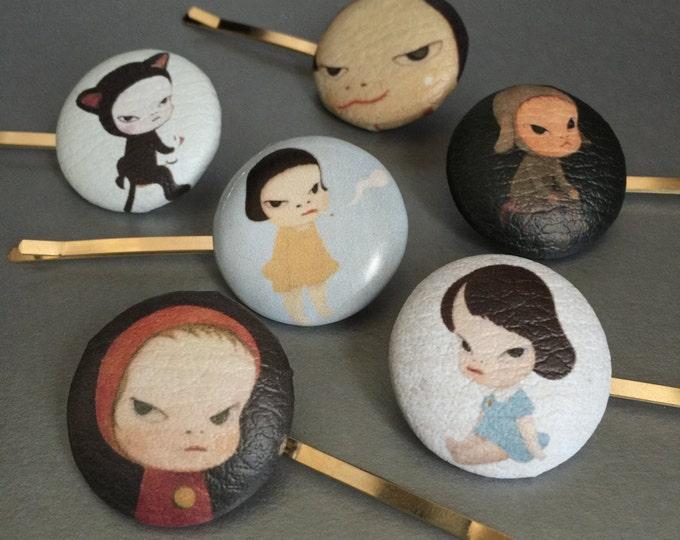 Yoshitomo Nara,Japanese Hair Pin,Girl Hair Accessory,Girl hair accessories,Blythe Doll,Bobby hair Pin,Gold Bobby Hair Pin,ooak blythe doll