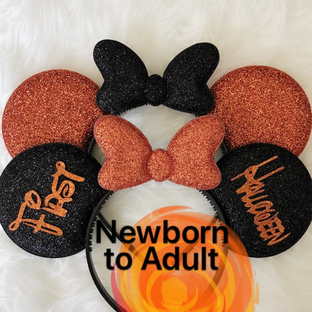 disney halloween minnie mickey ears disneyland halloween party orange minnie costume baby minnie ears elastic headband personalized ears