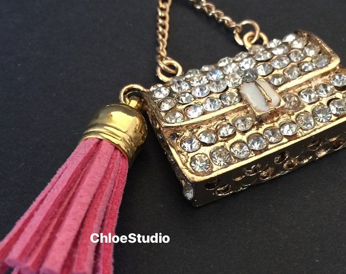 Crystal Keyring,Rhinestone Keyring,purse keychain,Key Ring,Bag Keychain,Gift for girl,Rhinestone Bag,bag Charm,white pearl,Swarovski keyring