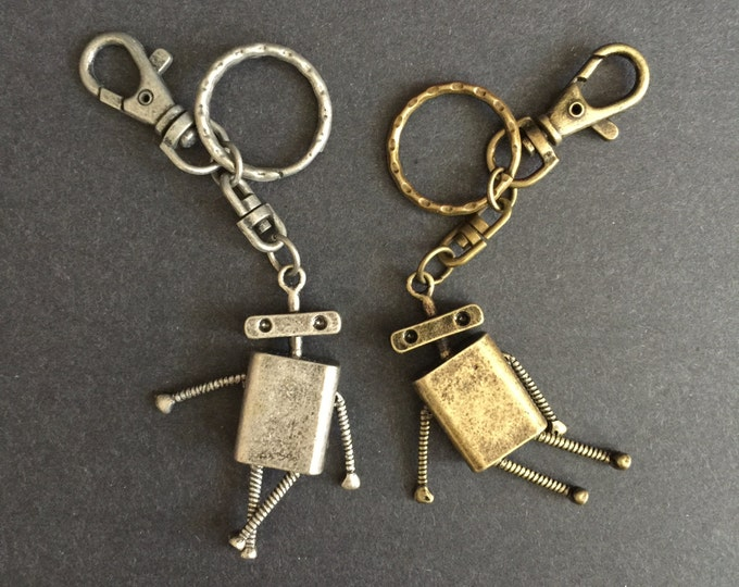 SALE,Vintage Robot Keychain,Vintage Robot Keyring,handmade keychain,keychain for men,gift for men,silver keychain,gold keychain,robot,baymax
