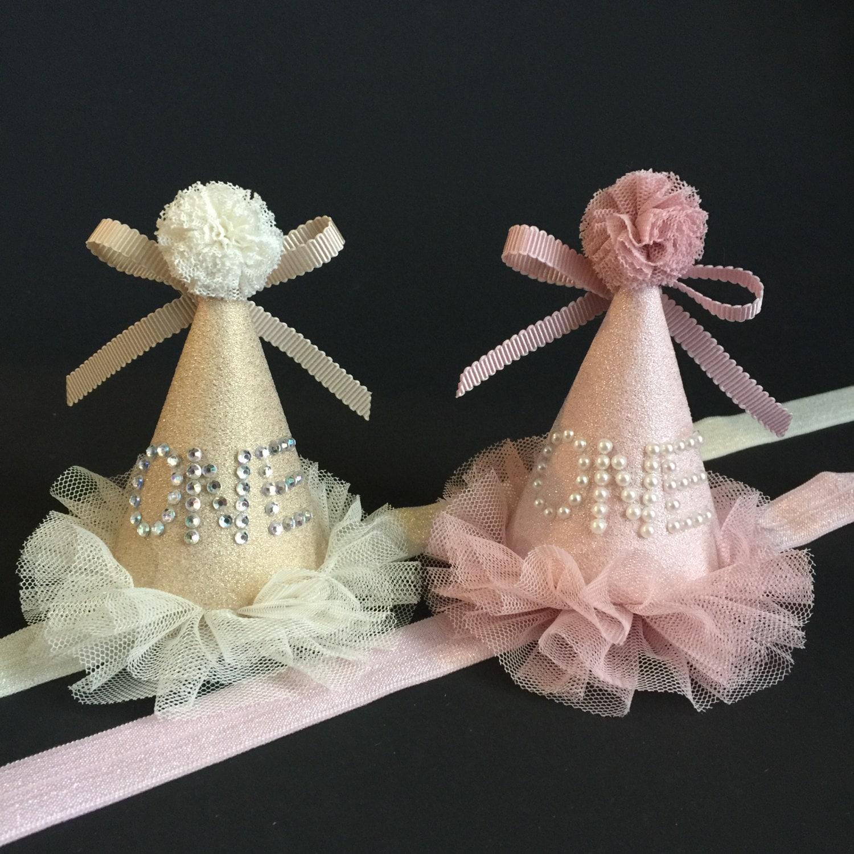 First Birthday Hatgold Hat1st Hatbaby Girl Hatnumber Hatparty Shower Giftbirthday Cone Hatpearls