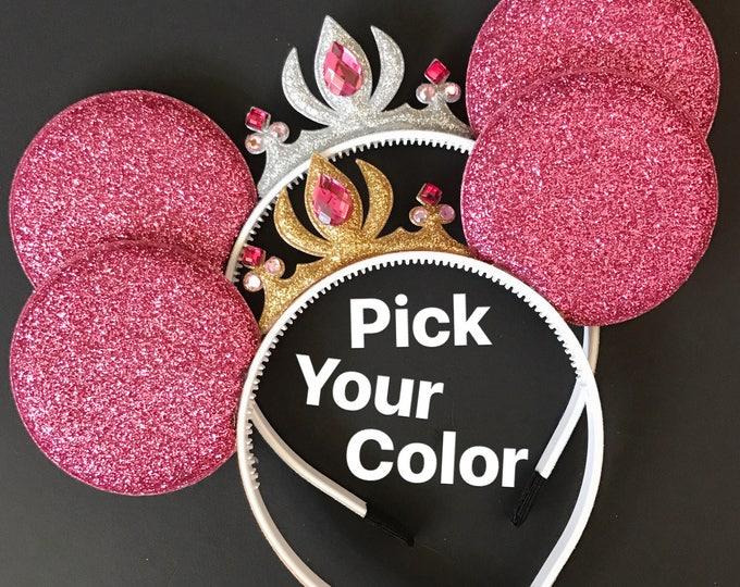 Aurora Minnie Ears,Aurora Crown Minnie Ears,Tiara Minnie Mouse Ears,Princess Mickey Ears,Princess Minnie Ears,Princess Ears,Disneyland Ears