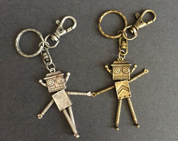 Vintage Robot Keychain,Vintage Robot Keyring,handmade keychain,keychain for men,keyring for men,silver keychain,gold keychain,gift for man