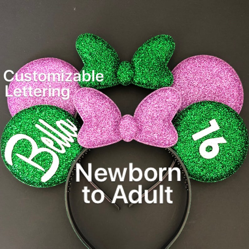 Mermaid Birthday Minnie Ears,Ariel Birthday Minnie Ears,Baby Minnie Ears,Ariel Mickey Ears,Ariel costume,Ariel outfit,Purple Ears,Mint Ears