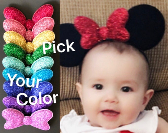 Baby Minnie Ears,Minnie Elastic Headband,Baby Mouse Ears,Mini Ears,Personalized Mickey Ears,Minnie Mouse costume,Minnie outfit