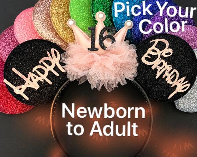 Rose gold Birthday Minnie Ear,Gold Pink Ear,Peach Mickey Ear,First birthday Ear,Disney Ear,Custom Ear,Personalized Ear,Disney Headband