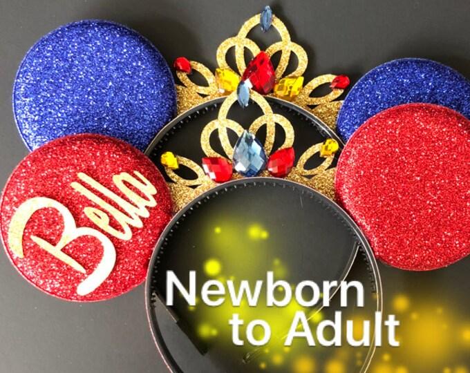 Snow White Birthday Ears,Red Minnie ears,Snow white Ears,Snow white minnie Ears,Blue Minnie Ears,Red and Blue,Kids Minnie ears,baby Ears