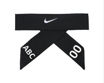 Black Custom Personalized Nike Dri-Fit Head Tie 2.0 Headband White Swoosh a36099be3c3