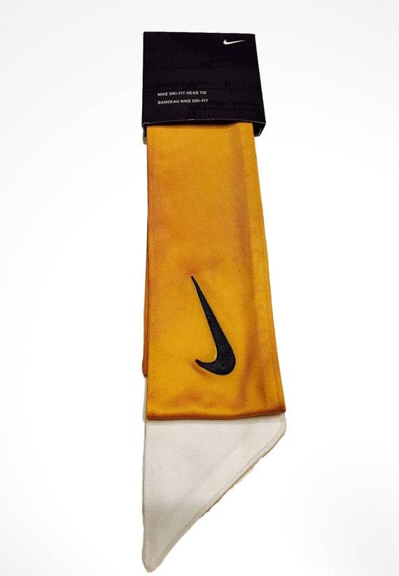 Gold Custom Nike Dri-Fit Head Tie Headband 2.0 - White Black d224fc090ef
