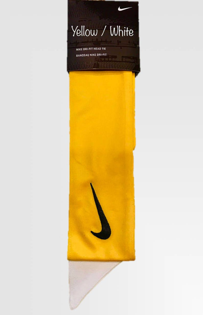 Yellow Custom Nike Dri-Fit Head Tie Headband 2.0 White Black  a41f0e734dd