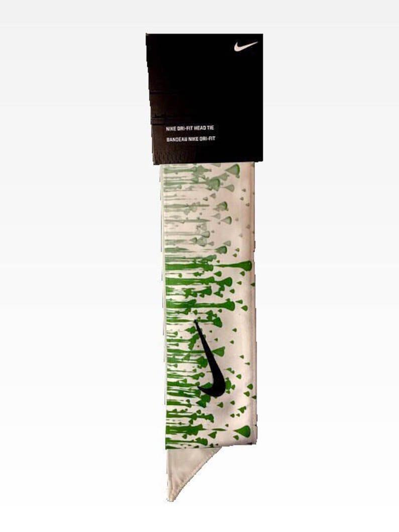 80b8d6b4bd82f Custom Monotone Green Droplets Nike Dri-Fit Head Tie Headband - Black,  White, Yellow, Pink, Green, Blue, Purple, Orange