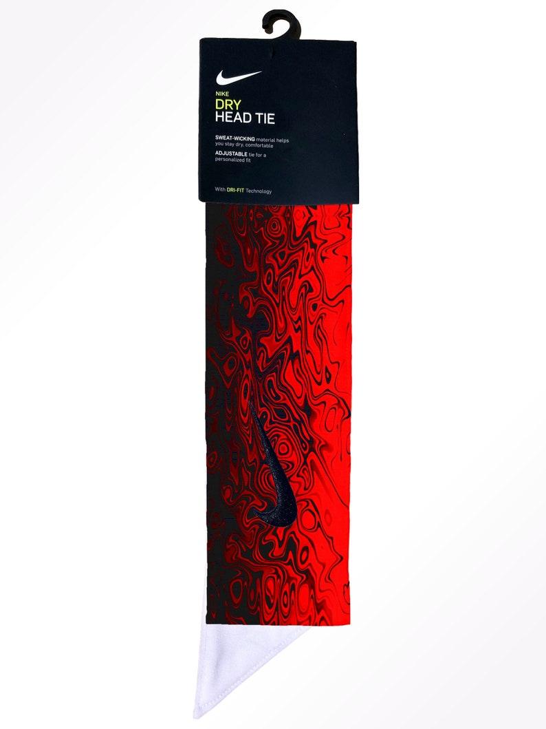 b389b011a609f Custom Red / Black Nike Dri-Fit Head Tie Headband - Tie Back - Yellow Pink  Green Blue Purple Orange Brown Grey White Grey - Sports