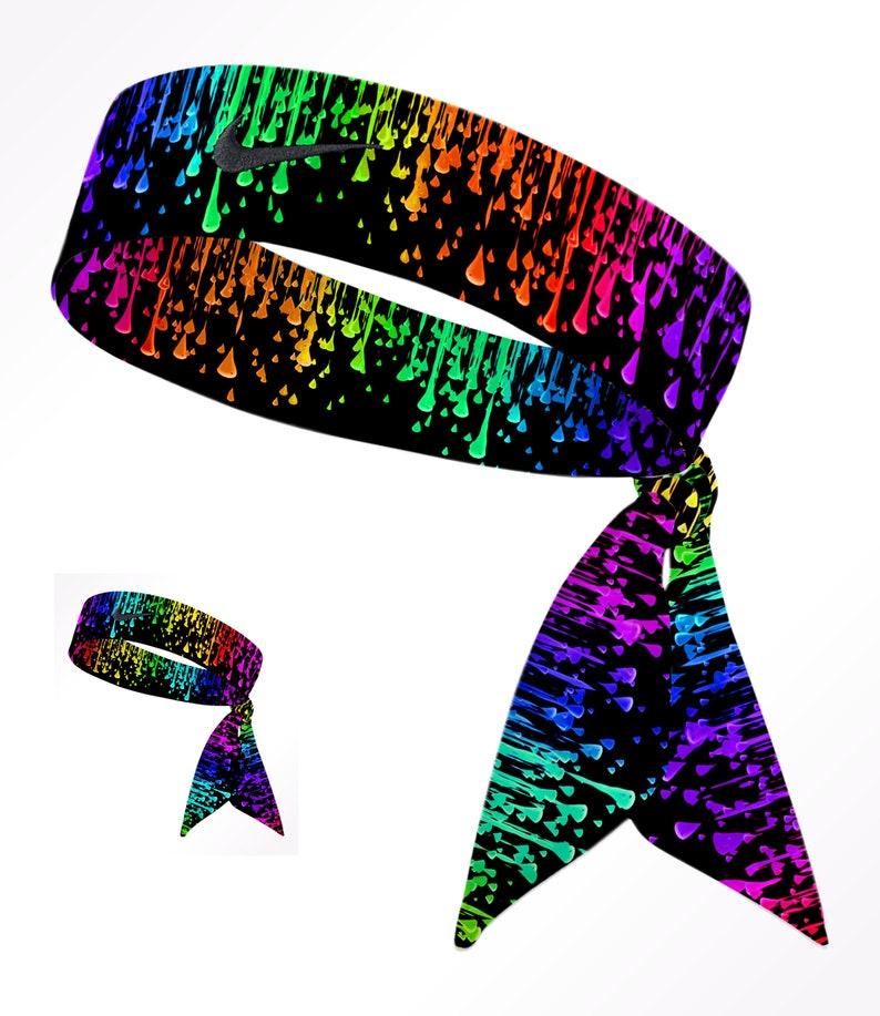 d88d6377392b3 Custom Multi. Color Droplets Black Nike Dri-Fit Head Tie Headband - Black,  White, Yellow, Pink, Green, Blue, Purple, Orange, Red