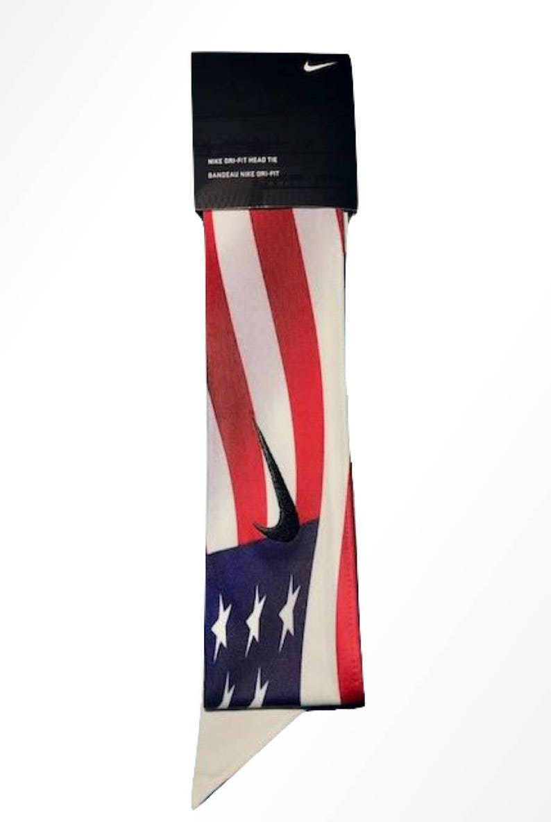 f5a11fa8b3202 USA Custom Nike Dri-Fit Head Tie Headband American Flag Red White Blue  Memorial Veterans President Independence Day USA White Black - Sports