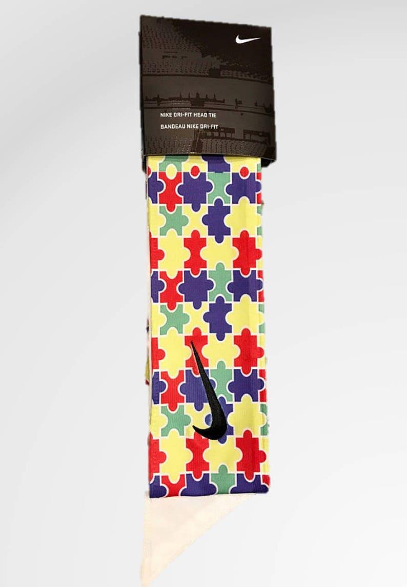 32e8cb0d8da73 Custom Autism Awareness Nike Dri-Fit Head Tie Headband 2.0 - Black, White,  Red, Blue, Green, Yellow Speaks - Sports