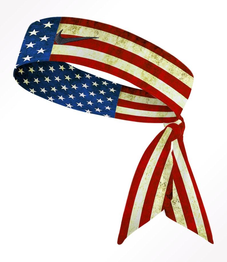 9d45d51970ec5 Old Glory Custom Nike Dri-Fit Head Tie Headband American Flag Red White  Blue Memorial Veterans President Independence Day USA- White Black