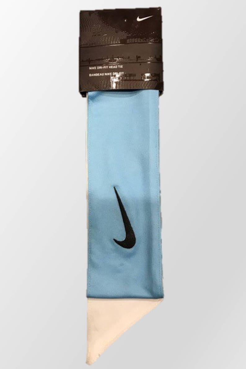 Light Blue and White Custom Nike Dri-Fit Head Tie Headband  8ea1cb6590a