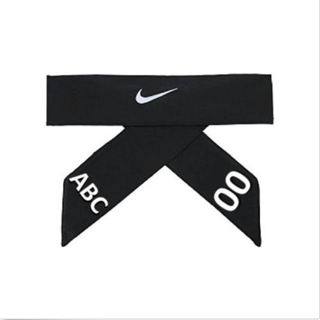 Black Custom Personalized Nike Dri Fit Head Tie 20 Headband Etsy