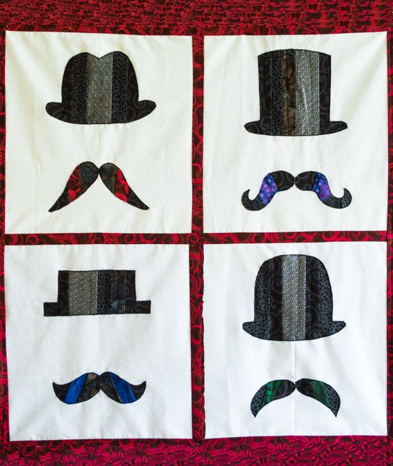 Mustaches Quilt Karma Pattern Paper Strip Piecing Raw Edge