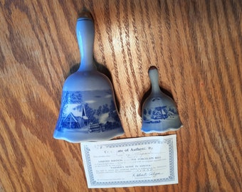 """Vintage 1976 American Treasury Copenhagen Bell Series of Currier & Ives scene """"Farmer's Home In Winter"""" - very good cond. -FREE shipping!"""
