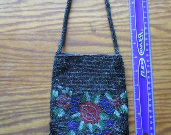 Vintage Hand Beaded Purse from glass beads, Made in India, Black w/ a Red Rose & Rose buds - used, like-new cond. - 1990's - FREE shipping!