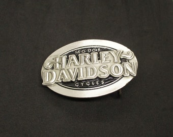 Vintage ©Harley Davidson Motor Cycles western buckle in pewter & black lacquered panels - 1983 - used, good cond - FREE shipping U.S. only!!