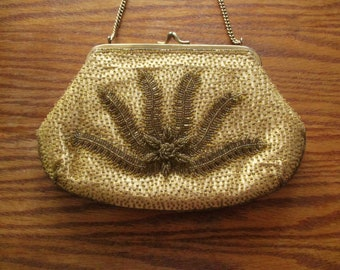 Vintage Gold Silk Handbeaded Clutch beaded with gold glass beads, by Sapphire - kiss clasp - used like-new cond. - 1950's - FREE shipping!