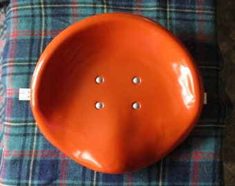 Vintage Orange Enameled Metal Tractor seat for a 1960's Vitamaster Rotocycle - made in Taiwan - good condition - FREE shipping!