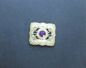 Vintage 1940's Art Deco Pressed brass with metal worked Brass Brooch with purple, cut glass, set gem - very good condition - FREE shipping!