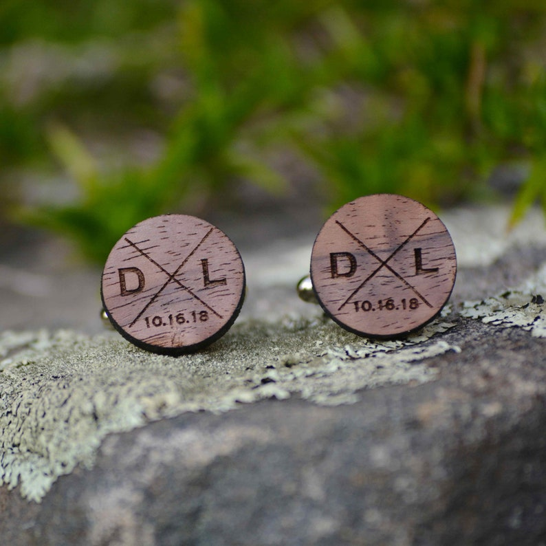 Personalized Wood Cufflinks. Groomsmen Cufflinks. Wedding image 0