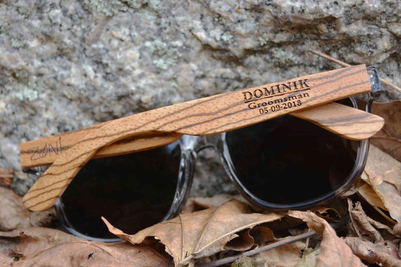 Personalized Wooden Sunglasses. Groomsmen Gift. Best Man image 0