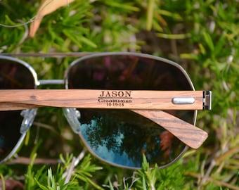 Groomsmen Sunglasses. Personalized Aviator Sunglasses. Wood Sunglasses. Bachelor Party Sunglasses. Engraved Unisex Sunglasses.Groomsmen Gift