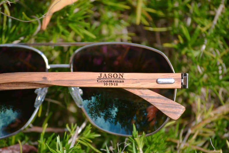 Groomsmen Sunglasses. Personalized Aviator Sunglasses. Wood image 0