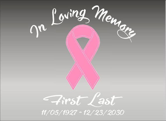 In Loving Memory Of with Butterfly Decal Window Sticker Custom Breast Cancer