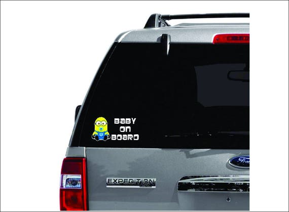 Vinyl Vehicle Kids Graphic Window Sticker Minion Baby on Board Despicable Me