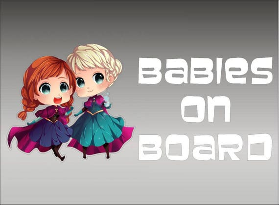 Anna and Elsa Babies On Board Frozen Vinyl Vehicle Kids Window Decal Sticker