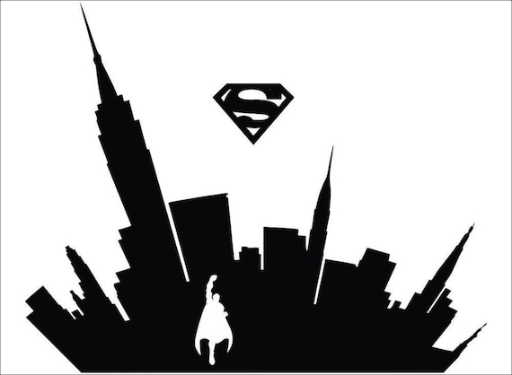 Superman Flying Cityscape silhouette / DC Comics / home ...