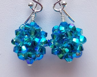 Blue Zircon 2x, Swarovski, Crystal Ball, woven, Sterling silver, earrings, Blue zircon, Blue, Green, Deep teal