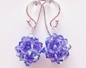 Tanzanite AB, Swarovski, Crystal Ball, woven,  Sterling silver, earrings, Purple,