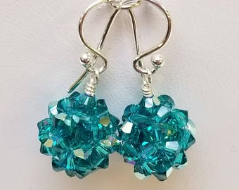 Blue Zircon AB, Swarovski, Crystal Ball, woven, Sterling silver, earrings, Blue zircon, Blue, Green