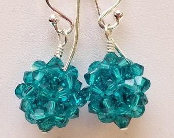 Blue Zircon, Swarovski, Swarovski Earrings, Crystal Ball, Woven, Sterling silver, December, Birthstone,  Earrings, Green, Blue
