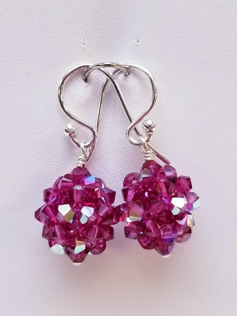 23bb94ff88b87 Fuchsia AB, Swarovski, Crystal Ball, woven, Sterling silver, earrings,  Pink, Purple, Fuchsia