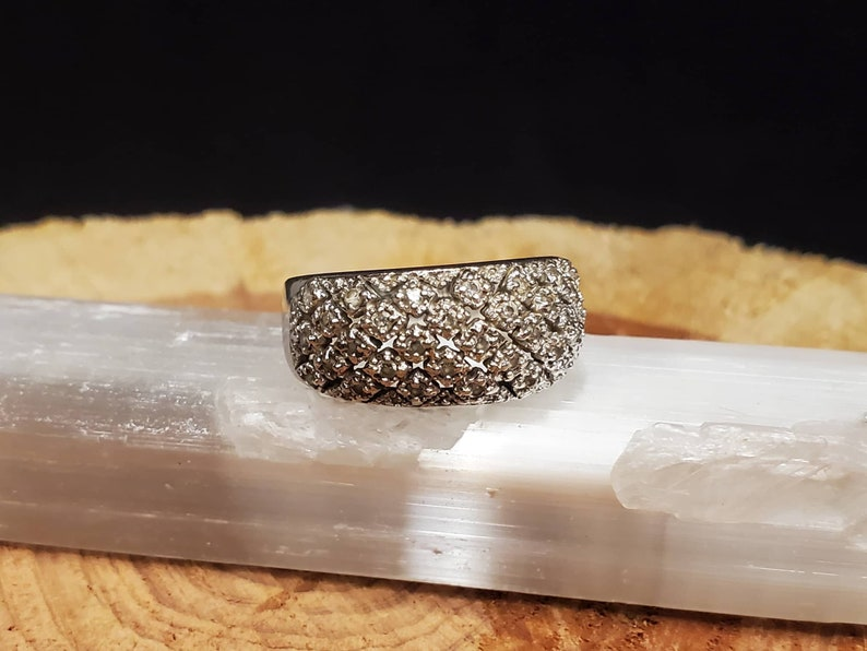 Domed CZ Sterling Silver Ring Size 7