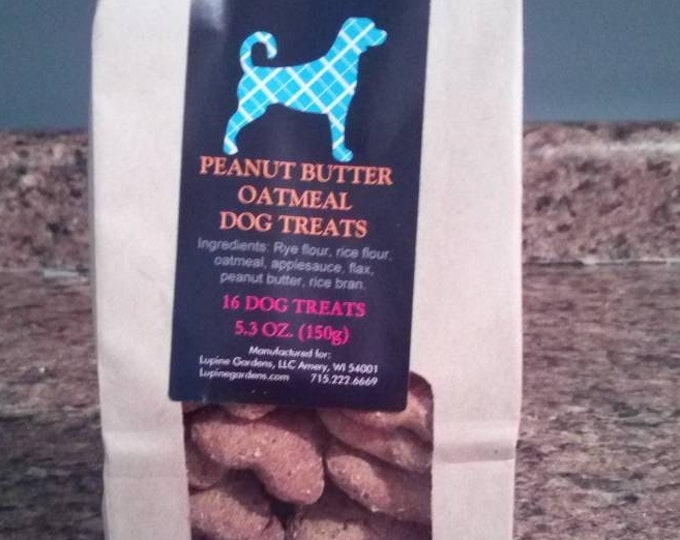 Peanut Butter Oatmeal all natural dog treats. 16 treats. 5.3 oz. No Wheat, No Corn, No Soy.
