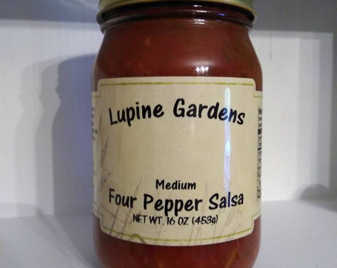 Medium Four Pepper Salsa. 16 Oz.