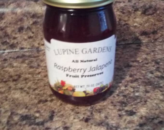 Raspberry Jalapeno fruit preserves. 20 oz.