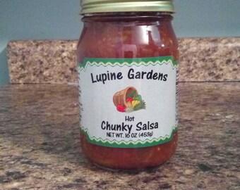 Hot Chunky Salsa. 16 oz.